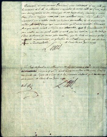 ヴァレンヌへの逃亡の際にしたためられた、ルイ16世の遺書